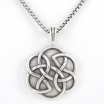 Round SHIELD OF DESTINY Inscribed Celtic Knot Pendant in Sterling Silver on a 20