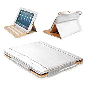 MOFRED® White & Tan Apple iPad Air (Launched 2013) Leather Case-MOFRED®- Executive Multi Function Leather Standby Case for Apple iPad Air with Built-in magnet for Sleep & Awake Feature  + Screen Protector + Stylus Pen