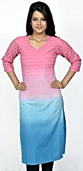 Devansh Women's Free Size Pink and Blue Shaded Stitched Long Cotton Kurtis