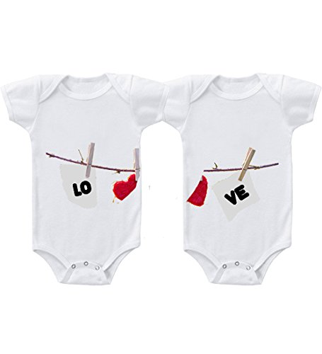 Love Clothesline Twins Infant Short Sleeve Baby Bodysuits Snap-Tee Set Of 2 Newborn front-750133