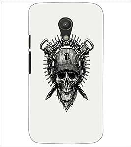 PrintDhaba Skull Designer D-1205 Back Case Cover for MOTOROLA MOTO G2 (Multi-Coloured)