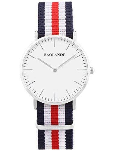 Alienwork Classic St.Mawes Quarz Armbanduhr elegant Quarzuhr Uhr modisch Zeitloses Design klassisch silber blau Nylon U04820G-01