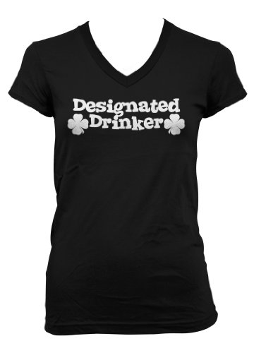 (Cybertela) Designated Drinker Junior Girl's V-neck T-shirt Four Leaf Clover Tee (Black, Medium)