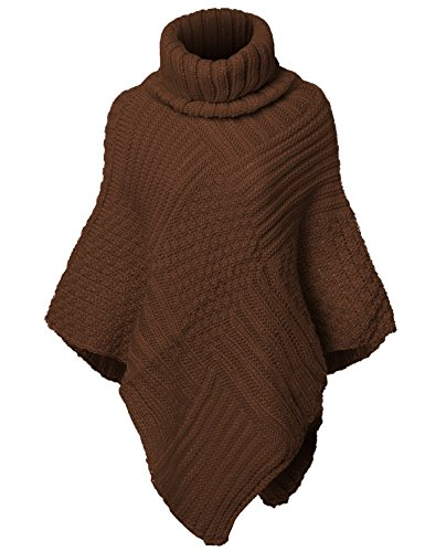 Warm Turtleneck Batwing Sleeve Poncho Sweaters,002-Camel,Free (S-L)