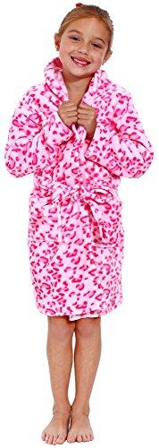 Simplicity Children's Velvet Animal Printed Bathrobe with Pockets Belt,Pink,S