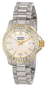 Movado Women's 2600121 Series 800 Stainless Steel Diamond Set Case and Two-Tone Bracelet White Mother-Of-Pearl Dial Watch