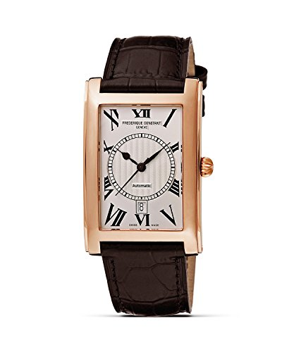 Frédérique Constant ROSE GOLD Plated Carree Men's Date Watch. CLEAR BACK. Made in Switzerland image