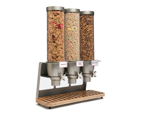 """Rosseto EZ547 EZ-SERV Triple Container Table-Top Cereal Dispenser with Bamboo Tray, 3.9-Gallon Capacity, 9"""" Length x 21"""" Width x 26"""" Height"""