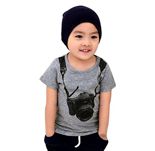 Boby T-shirt,Sumilulu Children Boy Kids Camera Short Sleeve Tops O Neck T Shirt Tees Clothes (1-2 Years)