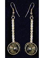 Grey With White Stone Studded Dangle Earrings - Stone And Metal