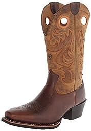 Ariat Men\'s Sport Square Toe Western Cowboy Boot, Fiddle Brown, 10.5 M US