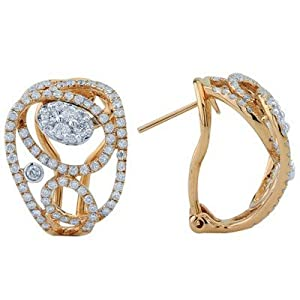 Modern Round Cut Diamond Omega Back Earrings In 18K Rose Gold