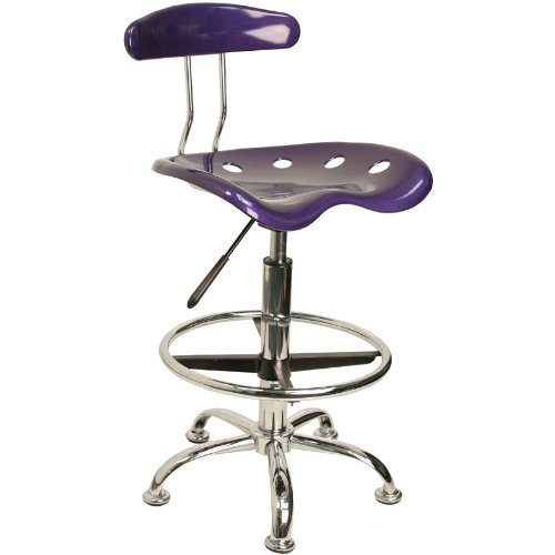Flash Furniture LF-215-VIOLET-GG Vibrant Violet and Chrome Drafting Stool with Tractor Seat