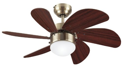 Westinghouse 78248 Turbo Swirl Single-Light 30-Inch Six-Blade Ceiling Fan, Antique Brass With Frosted Globe front-481470