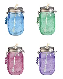 Toland Home Garden S340013 Toland - Mason Jar Oil Lantern - Set of Four Assorted Colors: Red, Purple, Blue, Green
