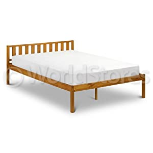 Baltic Bed Frame - Wood - Slatted Headboard - Simple Design - Double ...