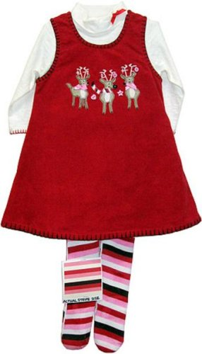 BT KIDS - Girls Boutique Christmas Clothing 3PC Reindeer Jumper set with tights, 3M - 24M Baby, newborn and Infant Girl's Holiday Dresses set!