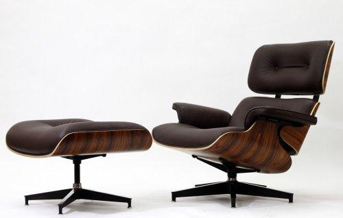 Modern Lounge Chair and Ottoman Set- Black