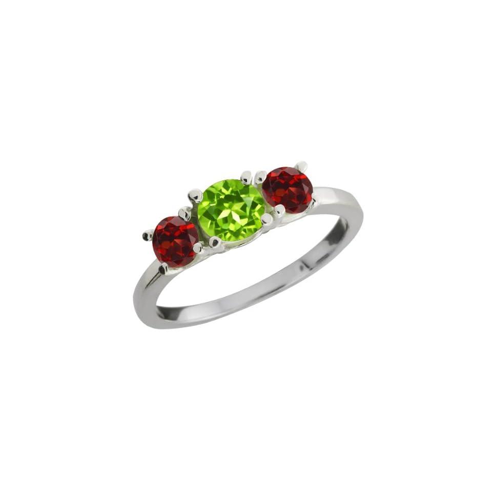 1.34 Ct Round Green Peridot and Red Garnet 18k White Gold Ring