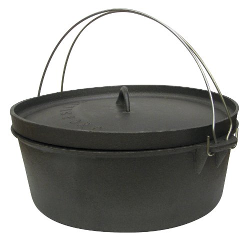 Stansport Non-Seasoned Cast Iron Dutch Oven, Flat Bottom (2-Quart)