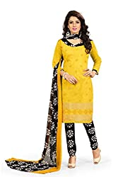 BanoRani Womens Yellow & Black Color Chanderi Embroidery UnStitched Dress Material