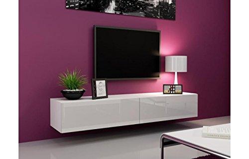 meuble tv design laqu blanc varsovie blanc 200. Black Bedroom Furniture Sets. Home Design Ideas