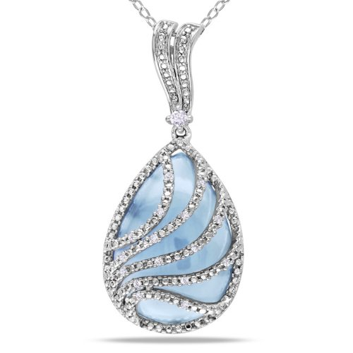 Sterling Silver, Diamond and Blue Chalcedony Pendant with Chain, (.1 cttw, GH Color, I2-I3 Clarity), 18