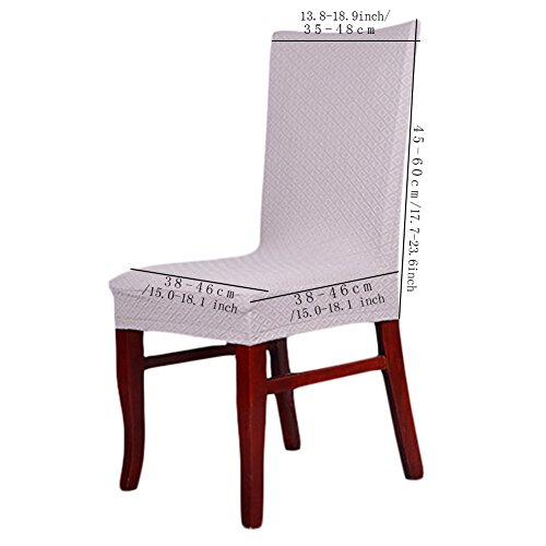 3 x Short Thick Twill Stretch Dining Room Chair Covers Protector, Banquet Chair Seat Slipcover for Hotel and Wedding Ceremony (WineRed)