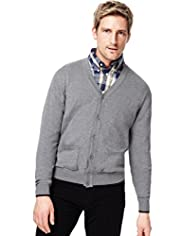 XXXL Blue Harbour Pure Cotton V-Neck Cardigan