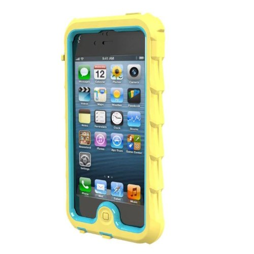 Great Sale Gumdrop Cases DS5-YLW-BLU Designer Drop Series Case for iPhone 5 - Retail Packaging - Yellow/Blue
