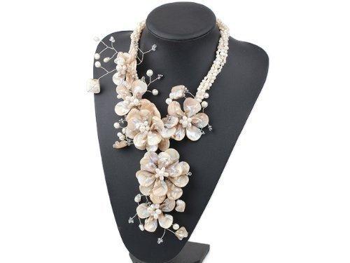 Pearl Dreams Jewellery Damen Perlenkette / Collier aus Süsswasser - Zuchtperlen und Perlmutt - Blumen