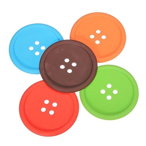 5 colori tondo a forma di bottone antiscivolo isolati in Silicone Mats sottobicchieri portabicchieri (rosso + arancio + blu + verde + caffè)