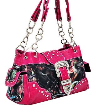 HOT PINK CAMOUFLAGE WESTERN BUCKLE PURSE