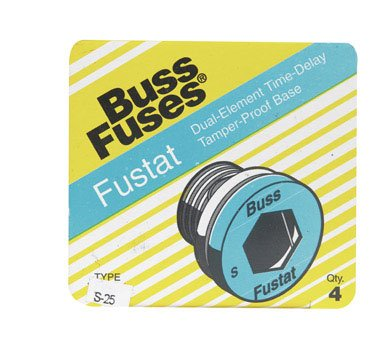 Bussmann S-25 25 Amp Type S Time-Delay Dual-Element Plug Fuse Rejection Base, 125V Ul Listed, 4-Pack
