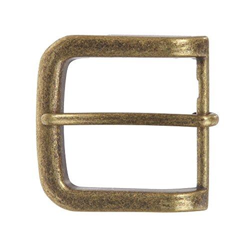 "1 1/2"" (38 mm) Single Prong Rectangular Belt Buckle Color: Antique Brass"