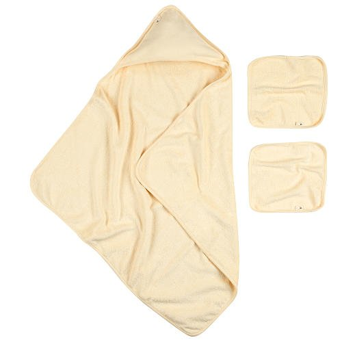 Burt's Bees Baby Organic Hooded Towel and Washcloth Set - Natural Cream