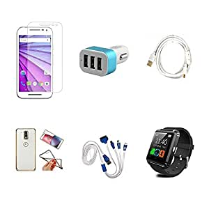 High Quality Combo of Moto G3 Temper Glass + Car Charger 3 USB + Fast Charging Cable + Attractive Back Cover (Transparent Back with Golden Border) + 4 in 1 USB Charging Cable