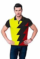 League Men's Collar T- Shirt (F_518_Large_Yellow)