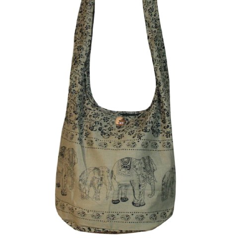 Thai Monk Buddha Cotton Elephant Sling Crossbody Messenger Bag Shlouder Purse Hippie Hobo Color Khaki