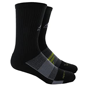 adidas Men's Barricade Tennis Crew Sock, Black/Tech Grey/Vivid Yellow, Small