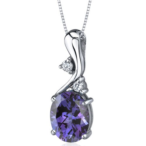 Illuminating Sophistication 3.50 carats Oval Shape Sterling Silver Alexandrite Pendant with 18 inch Silver Necklace Free Shipping