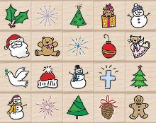 Holidays StampBox Wood Mounted Rubber Stamp Set (LB004)