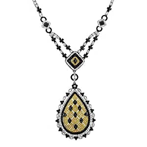 Necklace With 8.53ctw Genuine Natural Fancy Yellow Super Clean Diamonds Made of 18K Two tone Gold. Total item weight 40.2g Length 17.5in