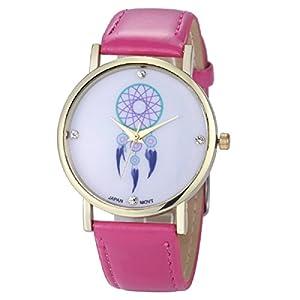 Ularmo Women Girl Campanula Analog PU Leather Band Quartz Wrist Watch (hot pink)