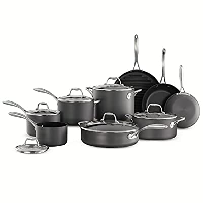 Cookware Set 15-Piece Member's Mark Features Hard-Anodized Aluminum Vessels and Comfortable Grip with Nonstick Interior Finish, Great for Kitchen