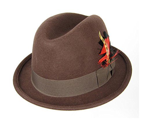 [Godfather Fedora Hat with Feather (Medium 22.75 in. / 58 cm., Brown)] (Pimp Hat With Feather)