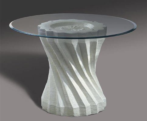 Image of Off White Twisted Ridge Glass Top Dining Table (B000K1Z58G)