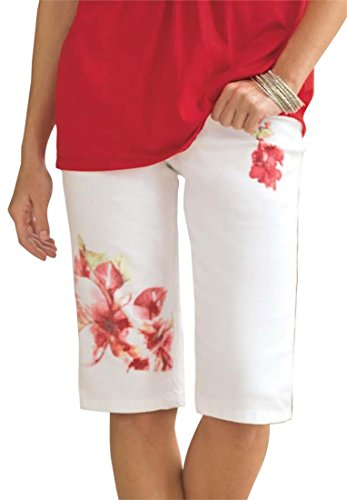 Plus Size Stretch Printed Bermuda Shorts s s catalog seniors