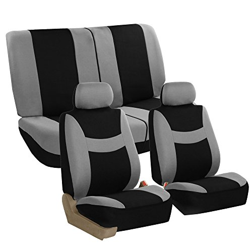 FH GROUP FH-FB030112 Light & Breezy Cloth Full Set Car Seat Covers (Airbag & Split Ready) Gray / Black- Fit Most Car, Truck, Suv, or Van (Cover De Autos compare prices)