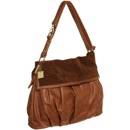 VECCELI ITALY Novelty Faux Leather Satchell w/ Suedette Detail,LBRN italy